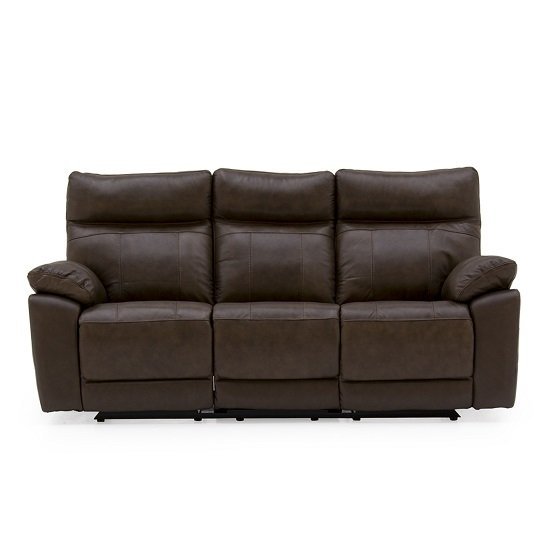 Marquess Recliner 3 Seater Sofa In Brown Faux Leather