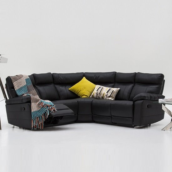 Phenomenal Marquess Recliner Corner Sofa In Black Faux Leather Download Free Architecture Designs Sospemadebymaigaardcom