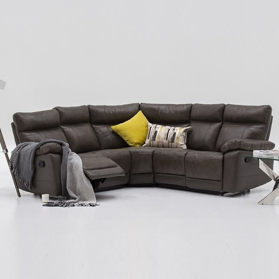 Marquess Recliner Corner Sofa In Brown Faux Leather_1