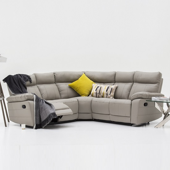Marquess Recliner Corner Sofa In Light Grey Faux Leather_1
