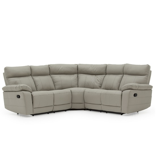 Marquess Recliner Corner Sofa In Light Grey Faux Leather_2