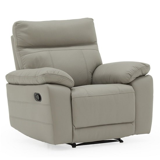 Marquess Recliner Sofa Chair In Light Grey Faux Leather