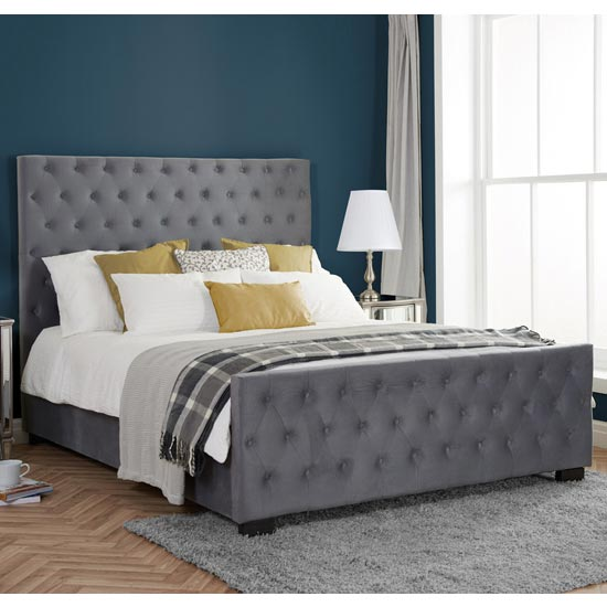 Marquis Fabric King Size Bed In Grey Velvet
