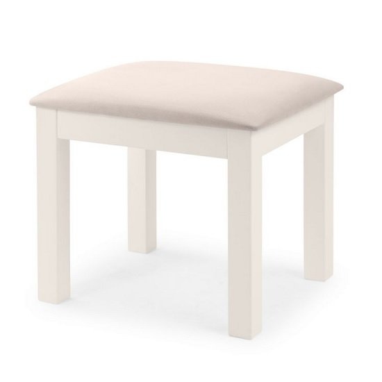 Marquis Wooden Dressing Table Stool In White With Padded Seat