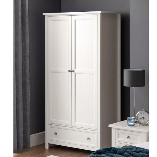Marquis Wooden Wardrobe In White With 2 Doors and 1 Drawer