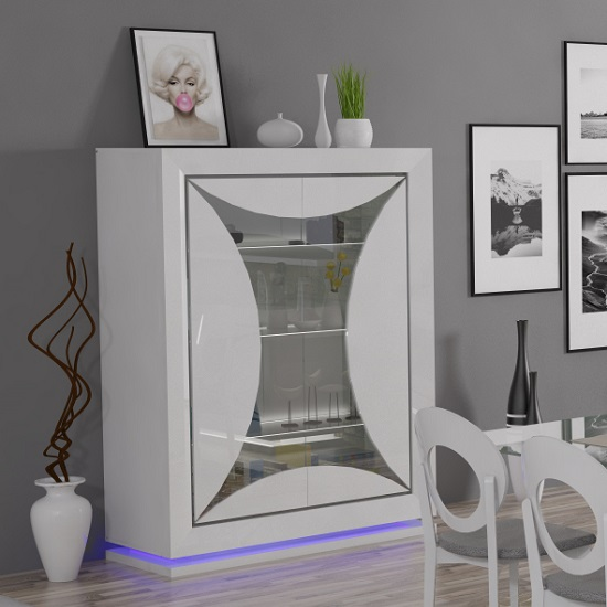 Marquis Glass Display Cabinet In White High Gloss With LED