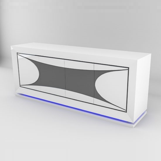 White Gloss Led Furniture: Marquis Sideboard In White High Gloss And Grey With LED