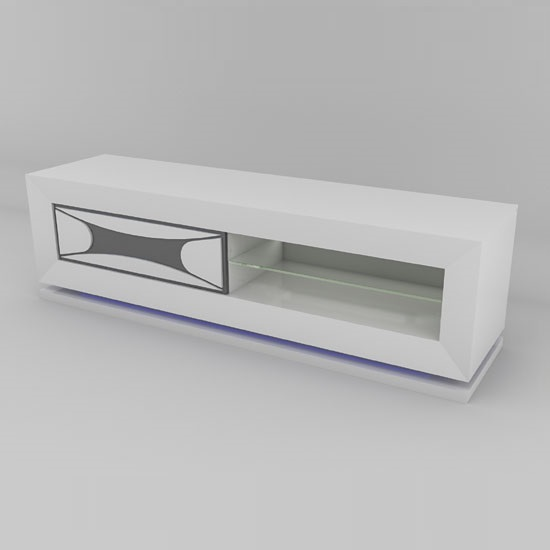 Marquis TV Stand In White High Gloss And Grey With LED