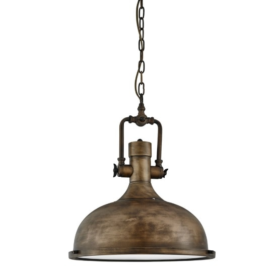 Mars Industrial Black Gold Pendant Light With Frosted Diffuser