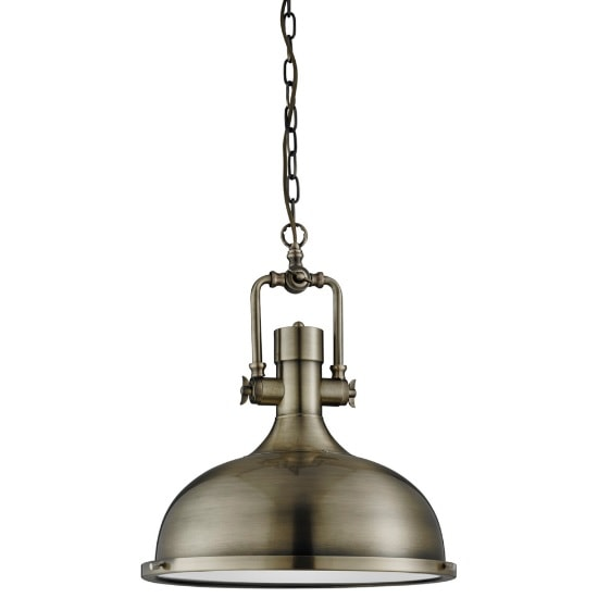 Mars Industrial Antique Brass Pendant Light With Frosted Diffuse