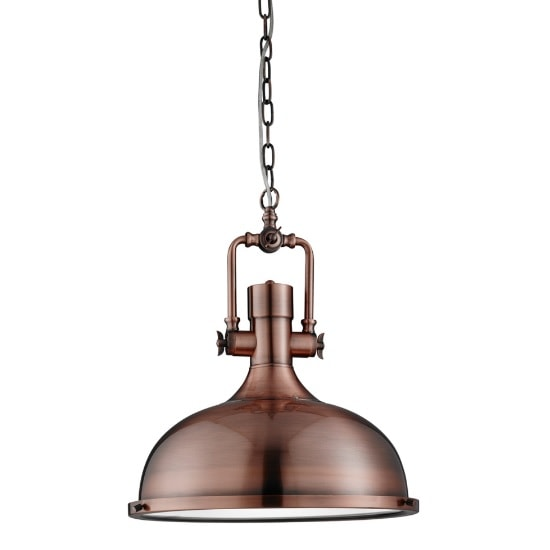 Mars Industrial Antique Copper Pendant Light Frosted Diffuser