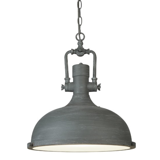 Mars Pendant Light In Cement Grey With Frosted Diffuser