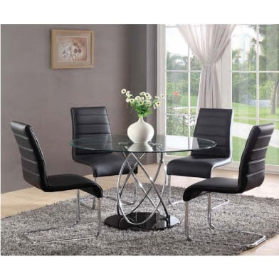 Marseille Glass Dining Table With 4 Dining Chairs Black