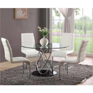 Marseille glass dining table with 4 toulouse dining chairs for Dining room table 4 seater