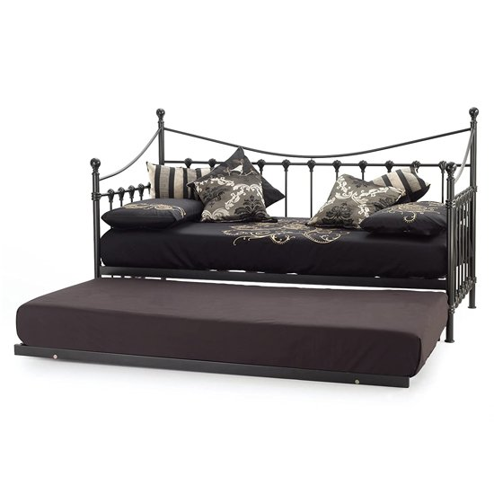 Marseille Metal Single Day Bed With Guest Bed In Black