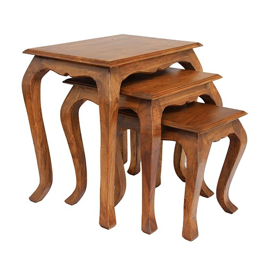 Product photograph showing Marseille Set Of 3 Wooden Nest Of Tables In Brunt Oak