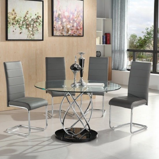 Marseille Glass Dining Table With 4 Daryl Grey Dining Chairs