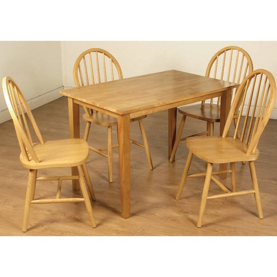 Marsic Dining Set In Light Oak With 4 Spindleback Chairs
