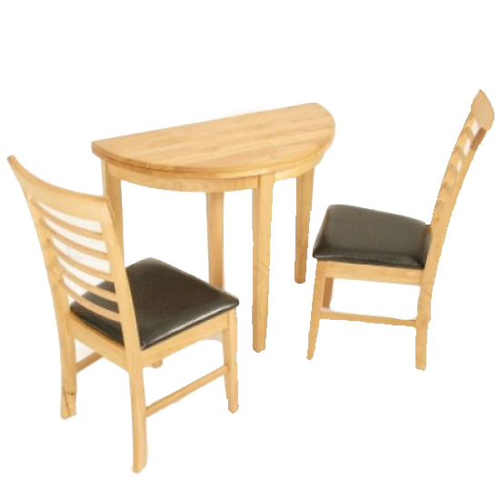 Marsic Half Moon Dining Set In Light Oak With 2 Chairs