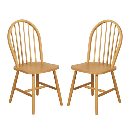Marsic Light Oak Spindleback Dining Chair In Pair