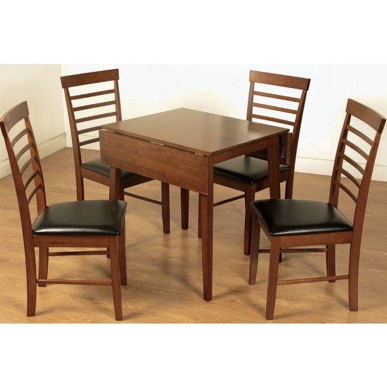 Marsic Square Drop Leaf Dining Set In Dark With 4 Chairs