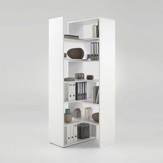 Marston Wooden Extendable Bookcase In White_4