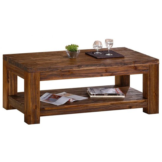 Martello Wooden Coffee Table In Dark Brown Sandblasted