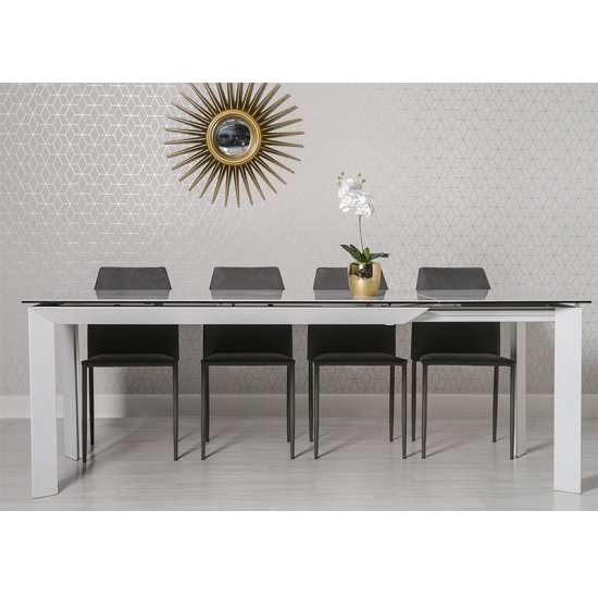Marten Extendable Dining Table In Glass And Ceramic Top