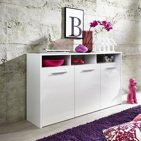 Martin Sideboard In White With Gloss Fronts And LED_2