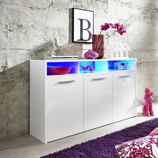 Martin Sideboard In White With Gloss Fronts And LED_1