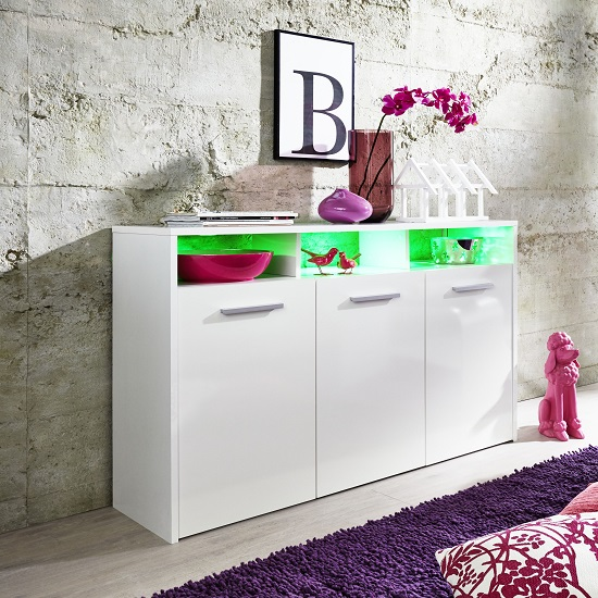 Martin Sideboard In White With Gloss Fronts And LED_4