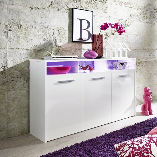 Martin Sideboard In White With Gloss Fronts And LED_5