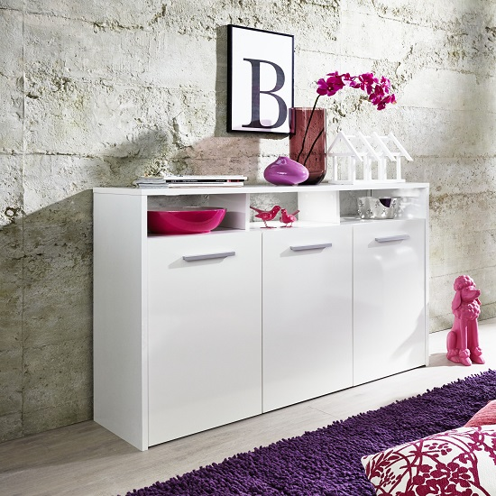 Martin Sideboard In White With Gloss Fronts And LED_6