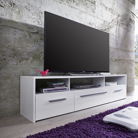 Martin TV Stand In White With Gloss Fronts And LED Lighting_2