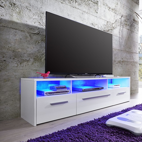 Martin LCD TV Stand In White High Gloss Fronts With LED Lighting