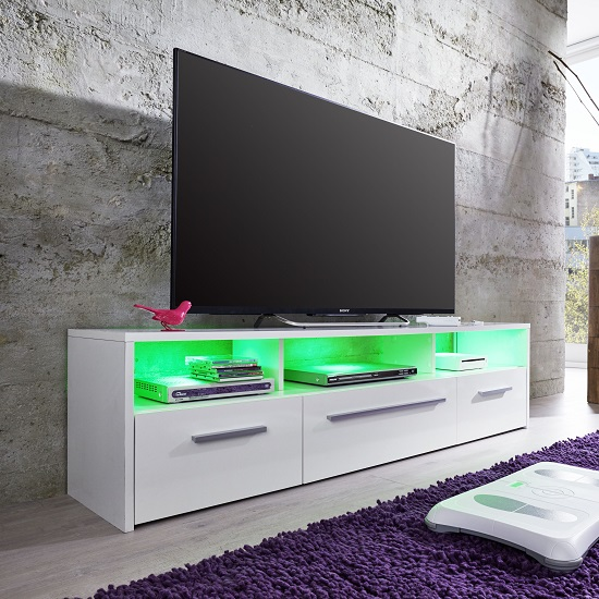 Martin TV Stand In White With Gloss Fronts And LED Lighting_3