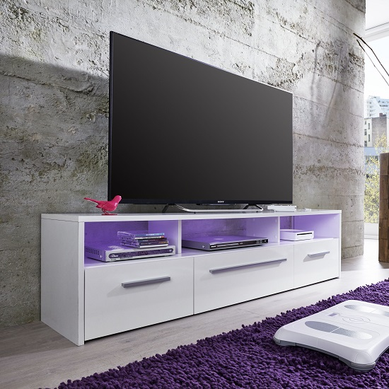 Martin TV Stand In White With Gloss Fronts And LED Lighting_4