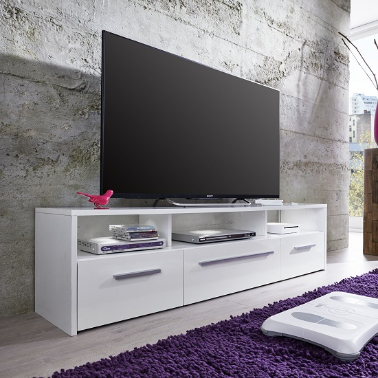 Martin TV Stand In White With Gloss Fronts And LED Lighting_5
