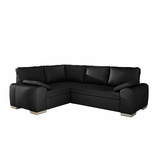 Martino Corner Sofa Bed In Black Faux Leather With Chrome