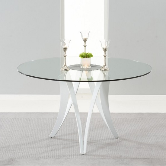 Martino Glass Dining Table And Metal Legs In White High Gloss