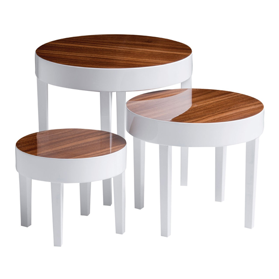 Archie Nest of Tables In Pear Wood With Pine Legs In White Gloss_3