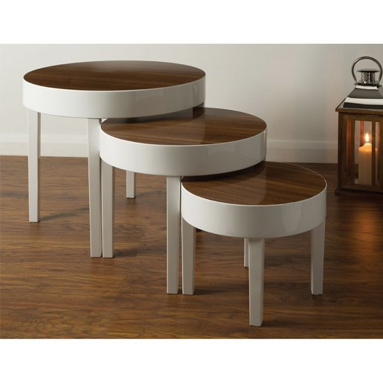 Archie Nest of Tables In Pear Wood With Pine Legs In White Gloss_1