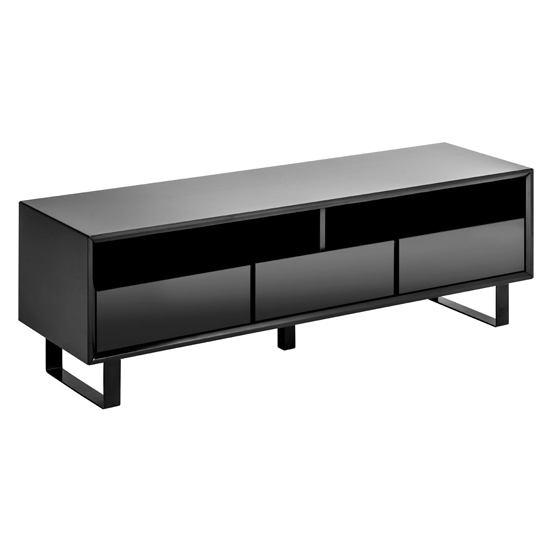 Martos Wooden High Gloss TV Stand In Black