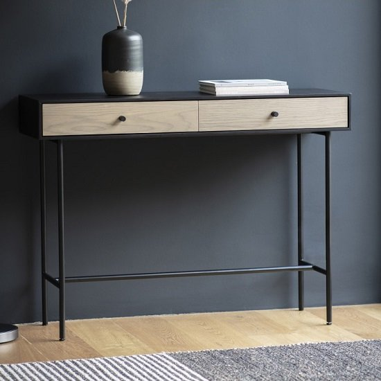 Marvale Two Drawer Console Table With Black Metal Frame