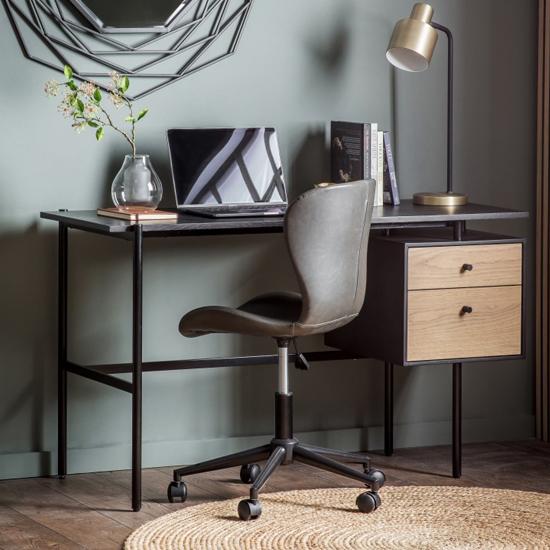 View Marvale wooden 2 drawers laptop desk in dark oak