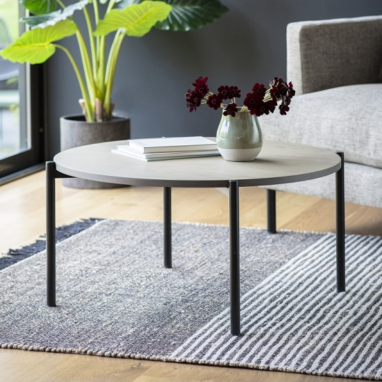 Marvale Wooden Coffee Table In Grey With Black Metal Frame