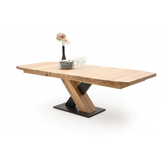 Marvel Wooden Extendable Dining Table Boat Shape In Bianco Oak