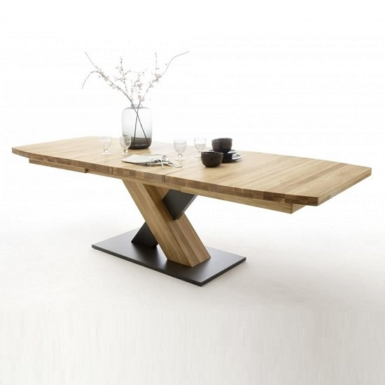 Marvel Extendable Boat Shape Large Dining Table In Wild Oak