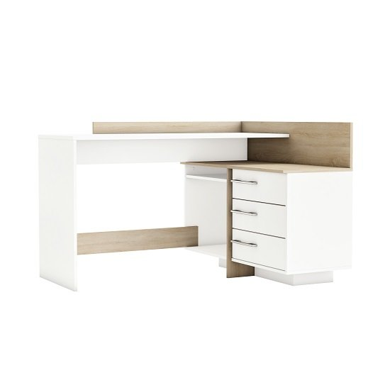 Marvin Corner Computer Desk In Brushed Oak And Pearl White_1