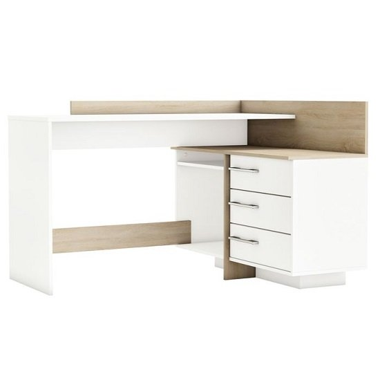 Marvin Corner Computer Desk In Brushed Oak And Pearl White_2